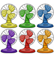 Electric fans in six different colors vector image