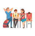 family waiting at airport terminal for flight vector image vector image