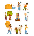 farmers at work set farm worker with gardening vector image vector image