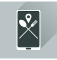 Flat web icon with long shadow mobile cafe vector image vector image