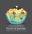 full fruit salad glass bowl on black backdrop vector image