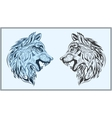 Graphic decorative wolves in black and blue colors vector image vector image