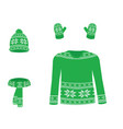 green winter knitted set vector image