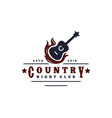 guitar on fire country music western vintage vector image vector image
