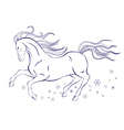 horse and snowflakes vector image
