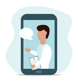 male doctor online from your smartphone vector image