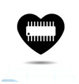 microcircuit icon in heart of microcircuit vector image