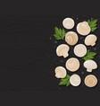 mushrooms on wood black background horizontal vector image vector image