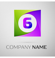 Number six logo symbol in the colorful square on vector image vector image