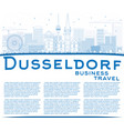 outline dusseldorf skyline with blue buildings vector image vector image
