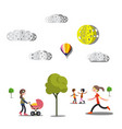 people trees and paper cut clouds on white vector image
