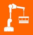 robotic hand manipulator white icon vector image vector image