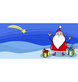 Santa with presents greeting card vector image vector image