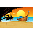 Scene with rock climber and beach vector image