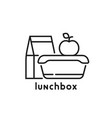 school lunchbox thin line icon vector image vector image