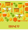 Seamless pattern with honey and bee objects vector image