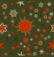 seamless texture red on dark green stylized vector image