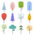 set color trees line style vector image vector image