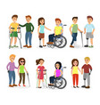 Set of disabled people and