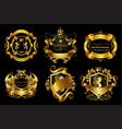 set of golden royal stickers or emblems vector image vector image