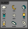 sleep color outline isometric icons vector image vector image