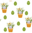 spring seamless happy easter patterns vector image vector image