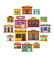 store facade front shop icons set flat style vector image