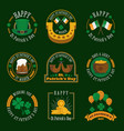 stpatricks day badge and label collection vector image vector image