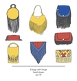 Stylish collection of 9 fashion bags with vector image