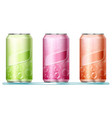 three aluminum cans with bubbles on labels vector image vector image