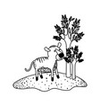 tiger cartoon next to the trees in black sections vector image vector image