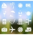Travel icons on blurred background vector image vector image
