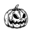 vintage halloween pumpkin with scary face vector image