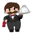 waiter with tray vector image vector image