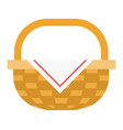 wicker basket with napkin flat isolated vector image vector image