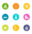 winter festival icons set flat style vector image vector image