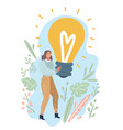 woman showing light bulb vector image vector image