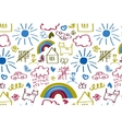 Seamless pattern with doodle children drawing vector image