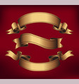 gold ribbons horizontal banners vector image