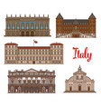 italian tourist sights icon set for travel design vector image