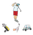 a gloved hand with a stick a golf cart a trolley vector image vector image