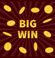 big win golden text flying dollar sign gold coin vector image vector image