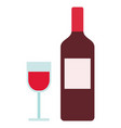 bottle and glass red wine icon flat isolated vector image