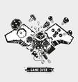 broken joystick gamepad parts video game poster vector image