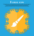 brush icon Floral flat design on a blue abstract vector image