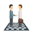 Business people shaking hands finishing up vector image vector image