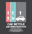 Car Bicycle and Pedestrian Path vector image vector image