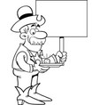 cartoon prospector holding a sign vector image vector image