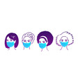 characters in medical masks vector image vector image
