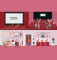 cinema banners with purchase ticket cinema hall vector image